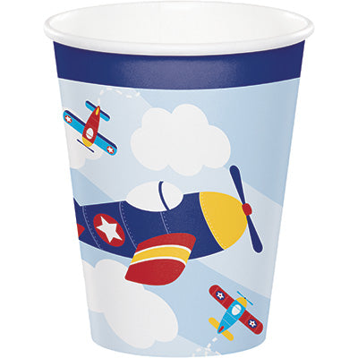 Lil Flyer 9oz Paper Cups 8ct - AIRPLANES - Party Supplies - America Likes To Party
