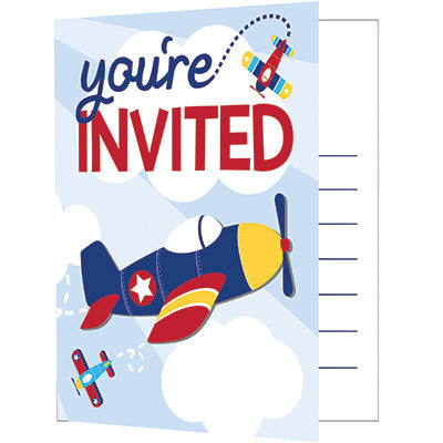 Lil Flyer Invitations 8ct - AIRPLANES - Party Supplies - America Likes To Party