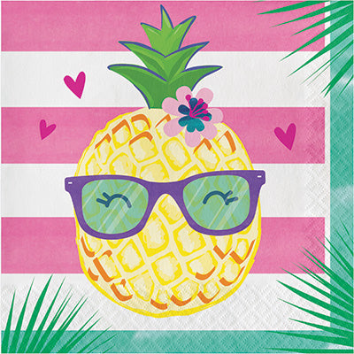 Pineapple 'N' Friends Lunch Napkins 16ct - TABLEWARE SUMMER/LUAU - Party Supplies - America Likes To Party