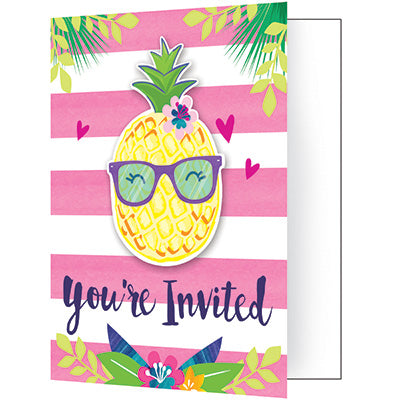 Pineapple 'N' Friends Invitations 8ct - ACCESSORIES SUMMER/LUAU - Party Supplies - America Likes To Party