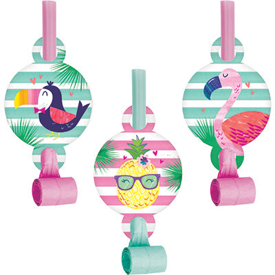 Pineapple 'N' Friends Blow Outs 8ct - ACCESSORIES SUMMER/LUAU - Party Supplies - America Likes To Party