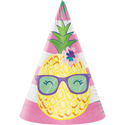 Pineapple 'N' Friends Cone Hats 8ct - DECORATIONS SUMMER/LUAU - Party Supplies - America Likes To Party