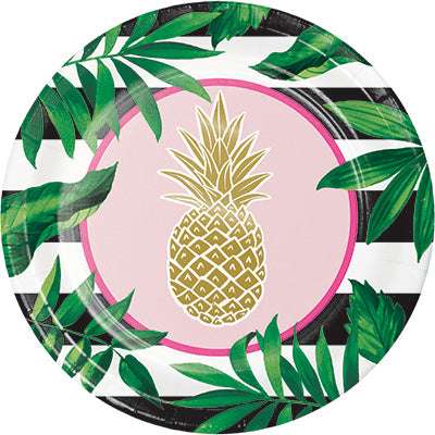 Golden Pineapple Dinner Plates 8ct - CREATIVE CONVERTING - Party Supplies - America Likes To Party