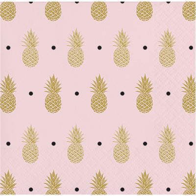 Golden Pineapple Beverage Napkins 16ct - CREATIVE CONVERTING - Party Supplies - America Likes To Party
