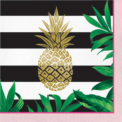 Golden Pineapple Lunch Napkins 16ct - CREATIVE CONVERTING - Party Supplies - America Likes To Party