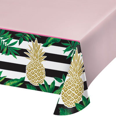 Golden Pineapple Tablecover - CREATIVE CONVERTING - Party Supplies - America Likes To Party