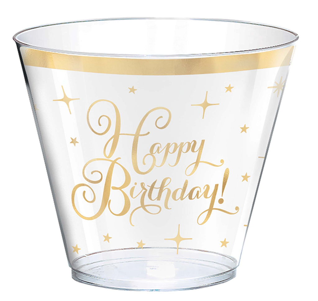 Premium Gold Birthday 9oz Tumblers 30ct - SPARKLING CELEBRATION - Party Supplies - America Likes To Party
