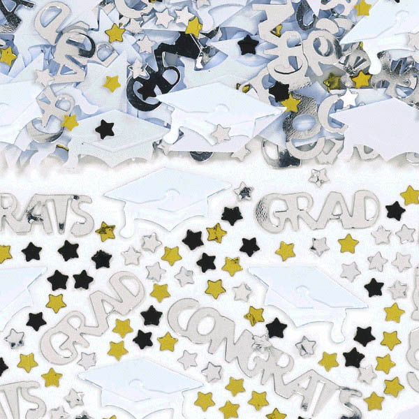 Metallic White Graduation Confetti