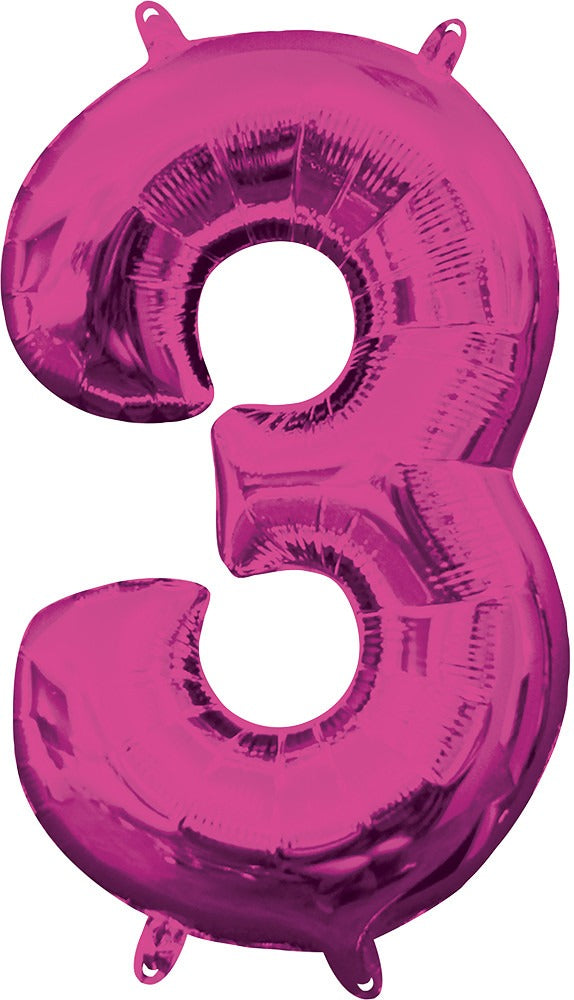 Air Filled Magenta Number 3 Balloon