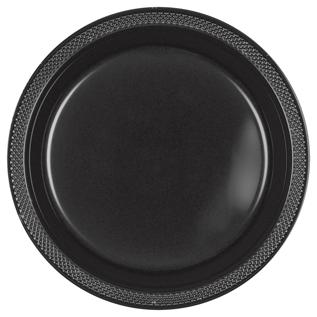Jet Black Big Party Pack Plastic Dessert Plates 50ct