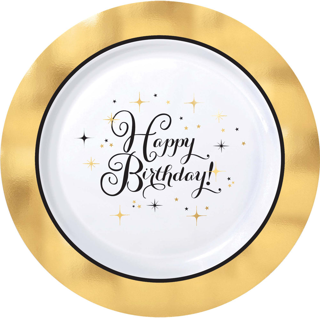 Premium Gold Birthday Dinner Plates 10ct - SPARKLING CELEBRATION - Party Supplies - America Likes To Party