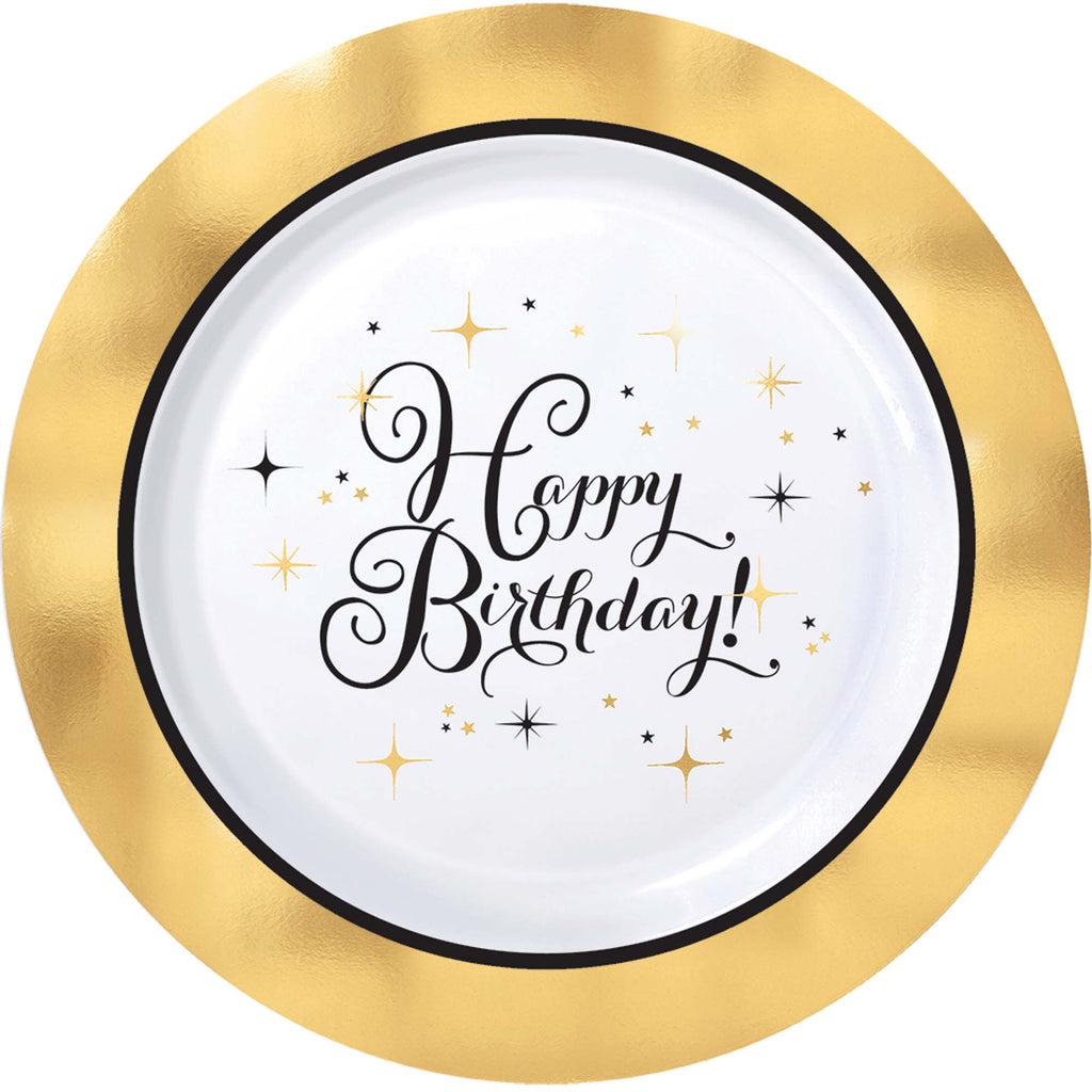 Premium Gold Birthday Dessert Plates 10ct - SPARKLING CELEBRATION - Party Supplies - America Likes To Party
