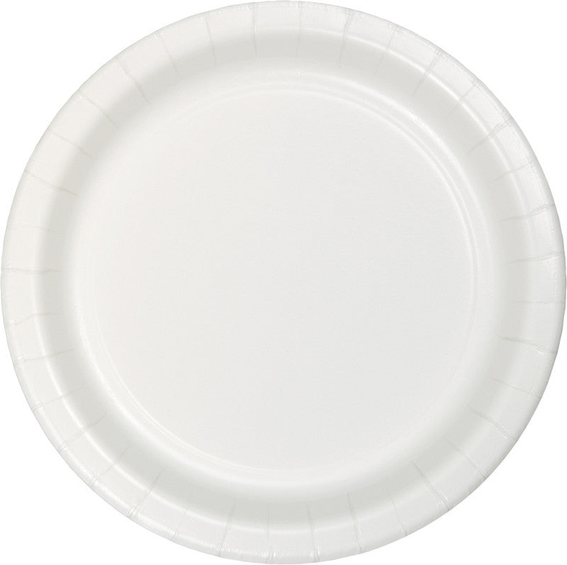 Frosty White Paper Dessert Plates 20ct - WHITE .08 - Party Supplies - America Likes To Party