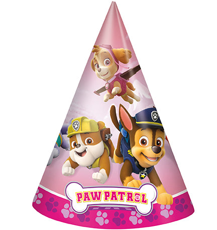 Paw Patrol Pink Cone Hats 8ct - PAW PATROL - Party Supplies - America Likes To Party