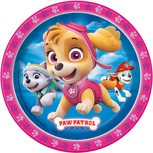 Paw Patrol Pink Dessert Plates 8ct - PAW PATROL - Party Supplies - America Likes To Party
