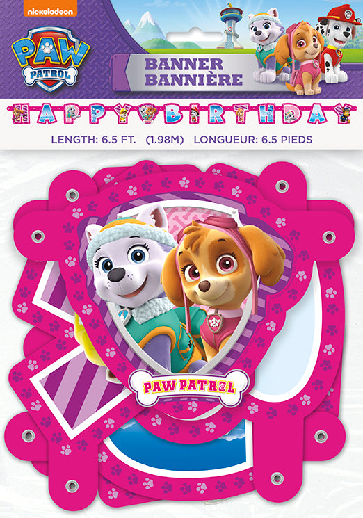 Paw Patrol Pink Birthday Banner - PAW PATROL - Party Supplies - America Likes To Party