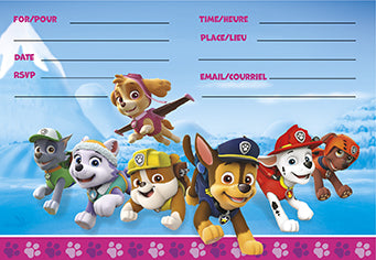 Paw Patrol Pink Invitations 8ct - PAW PATROL - Party Supplies - America Likes To Party