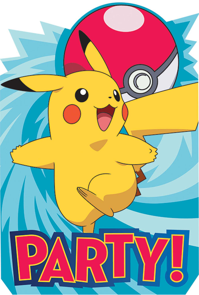 Pokemon Invitations 8ct - POKEMON - Party Supplies - America Likes To Party