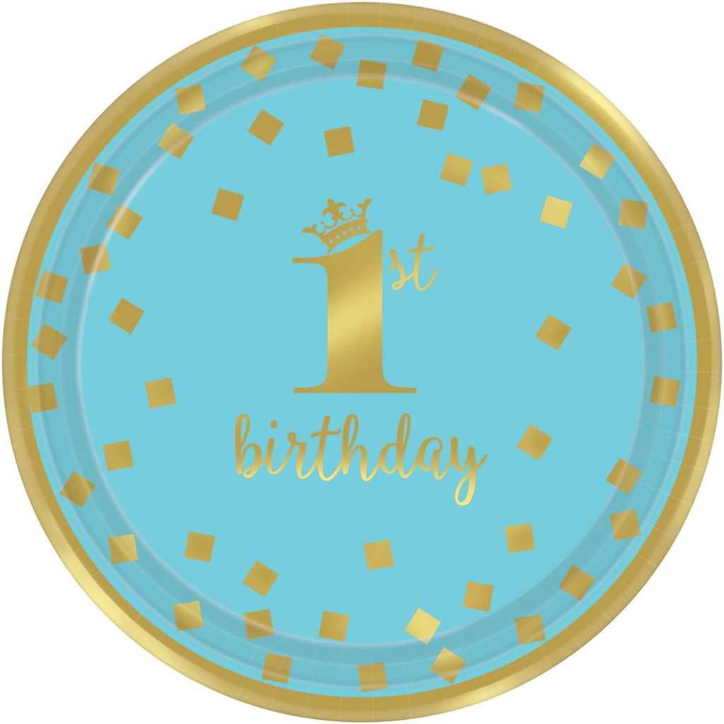 1st Birthday Boy Gold Lunch Plates 8ct - 1ST BDAY BOY - Party Supplies - America Likes To Party