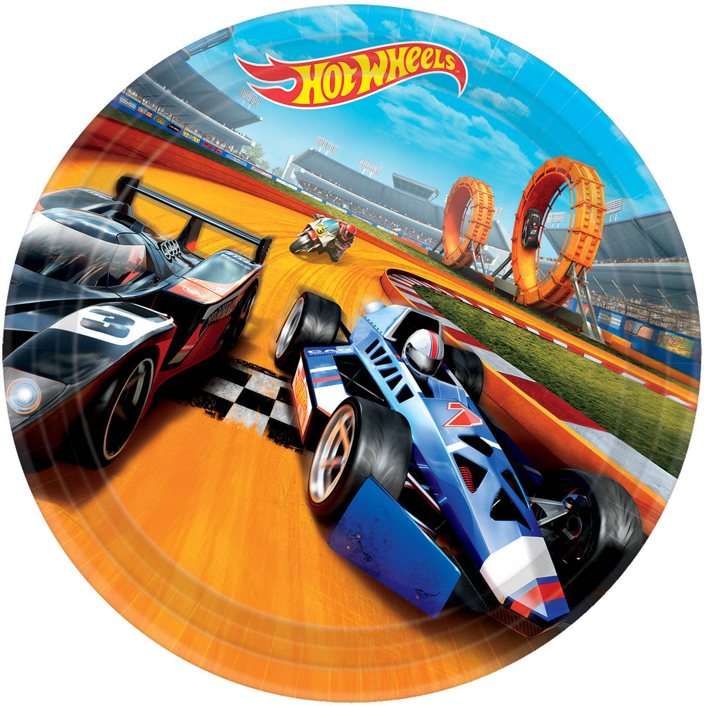 Hot Wheels Lunch Plates 8ct - *HOT WHEELS - Party Supplies - America Likes To Party