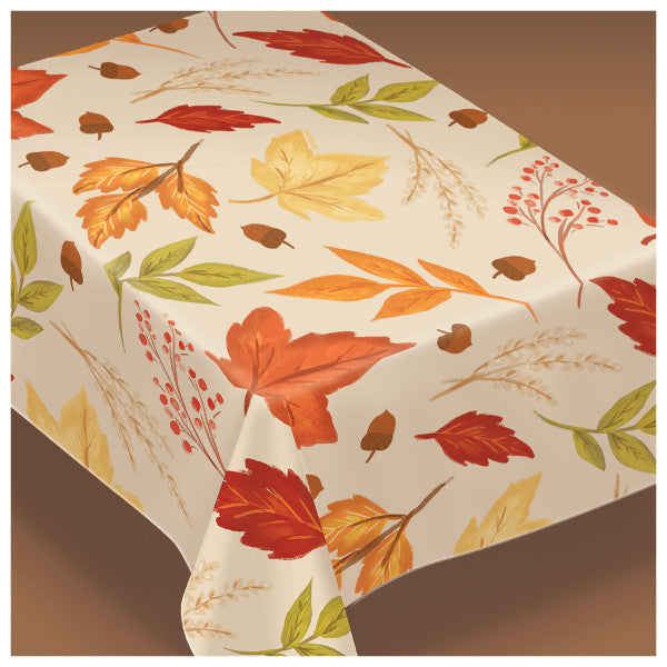 Fall Foliage Table Cover - Flannel-Backed Vinyl