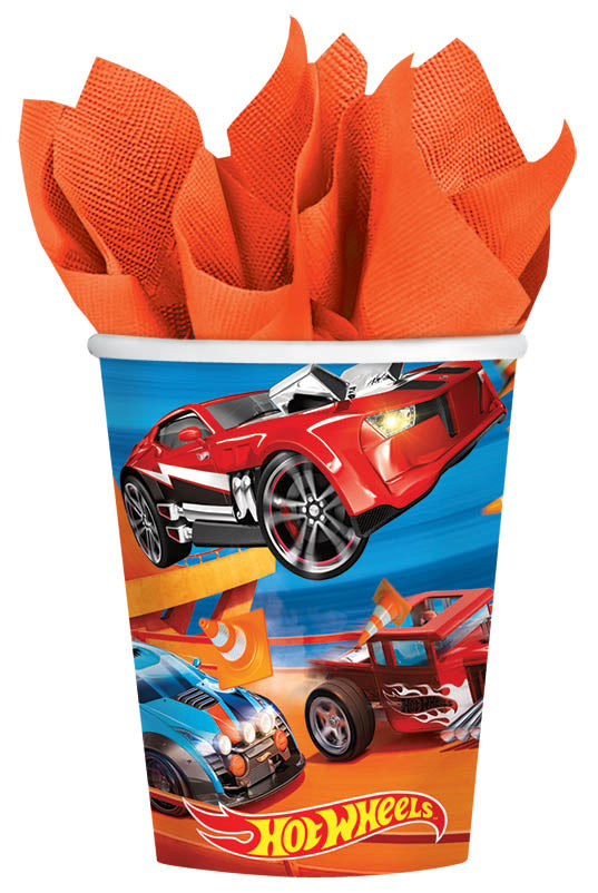 Hot Wheels 9oz Paper Cups 8ct - *HOT WHEELS - Party Supplies - America Likes To Party