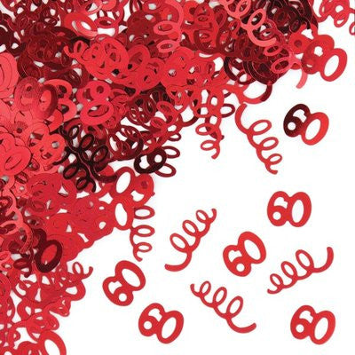 60th Birthday Confetti - Red - CONFETTI - Party Supplies - America Likes To Party