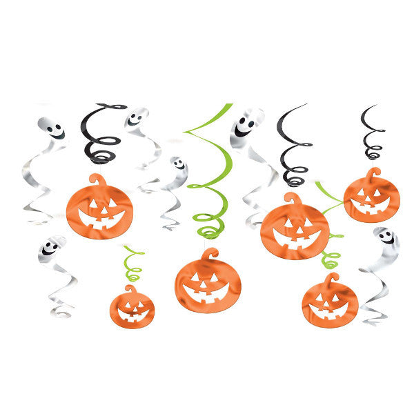 Pumpkin Ghost Swirl Decorations