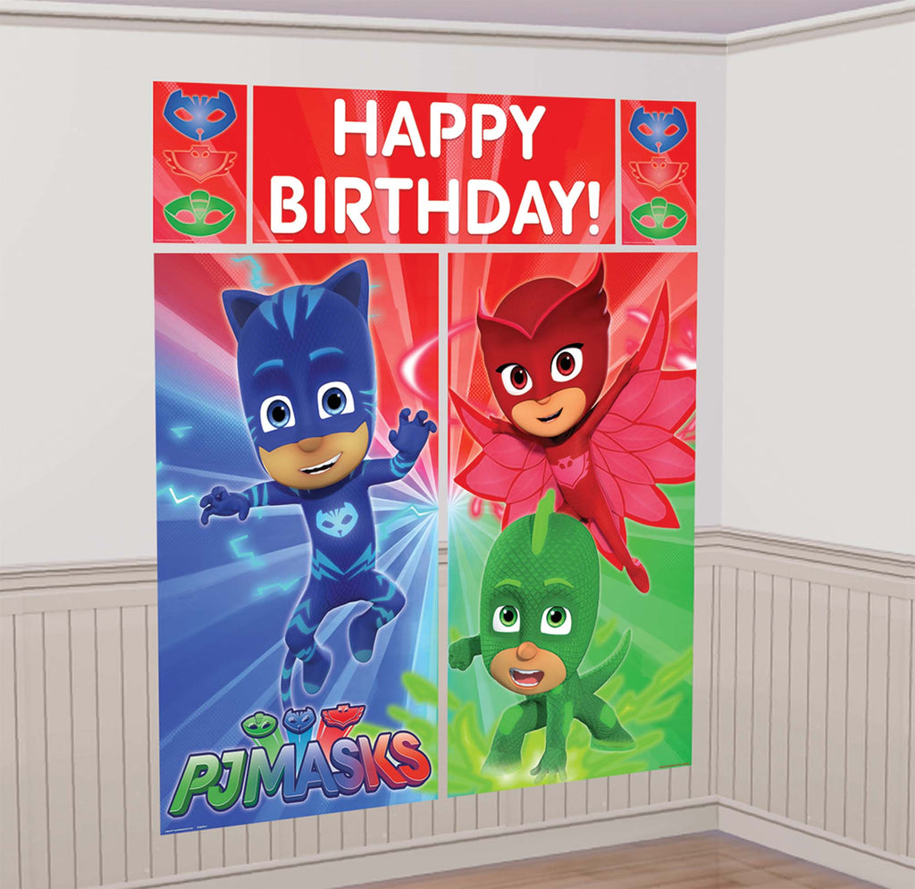 PJ Masks Scene Setter with Photo Props - PJ MASK - Party Supplies - America Likes To Party