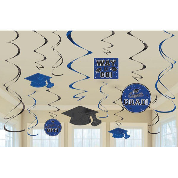 Blue Graduation Swirl Decorations 12ct