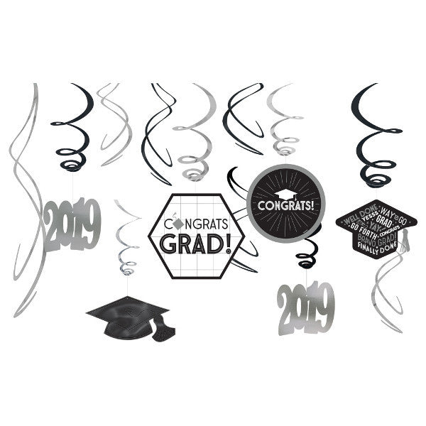 White Graduation Swirl Decorations 12ct