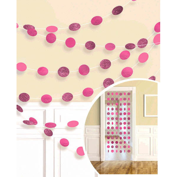 Glitter Bright Pink Dot String Decorations 6ct