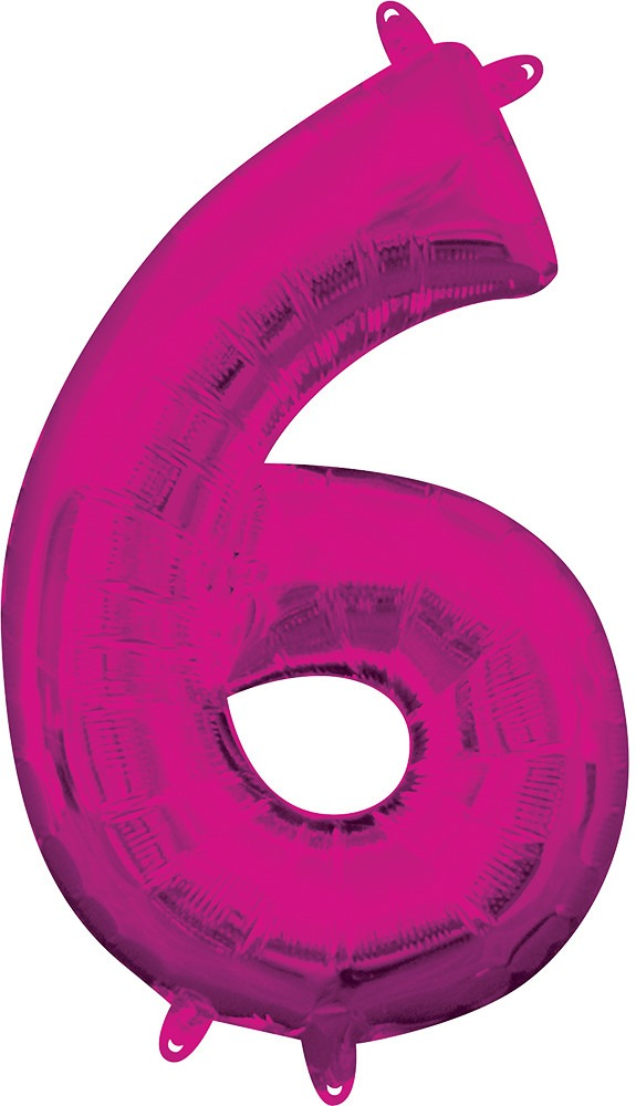 Air Filled Magenta Number 6 Balloon