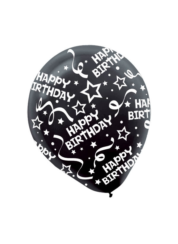 Black Happy Birthday Confetti 6ct - BAGS LATEX - Party Supplies - America Likes To Party