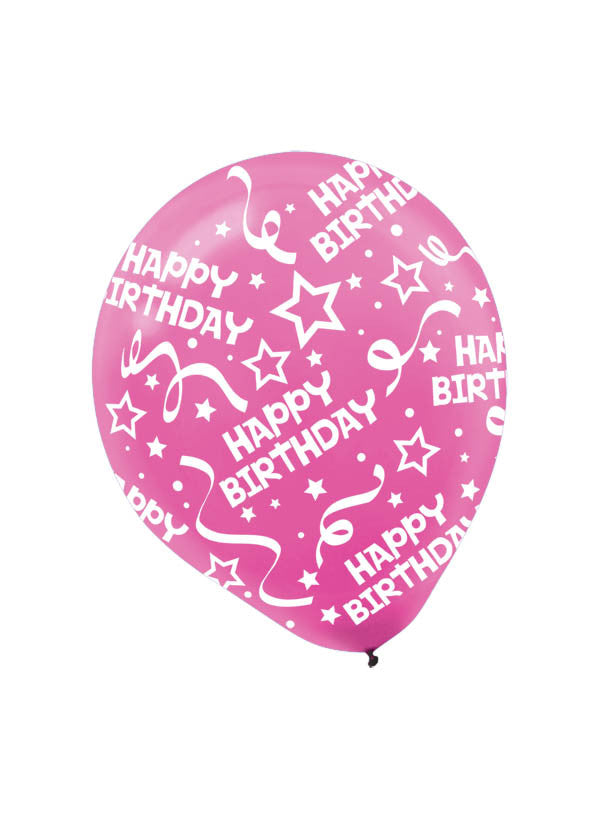 Bright Pink Happy Birthday Confetti 6ct - BAGS LATEX - Party Supplies - America Likes To Party