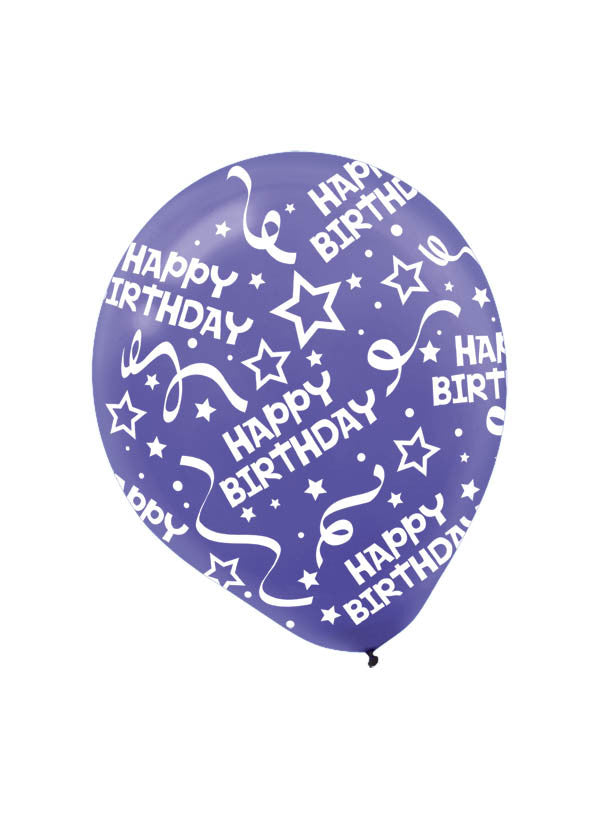 New Purple Happy Birthday Confetti 6ct - BAGS LATEX - Party Supplies - America Likes To Party