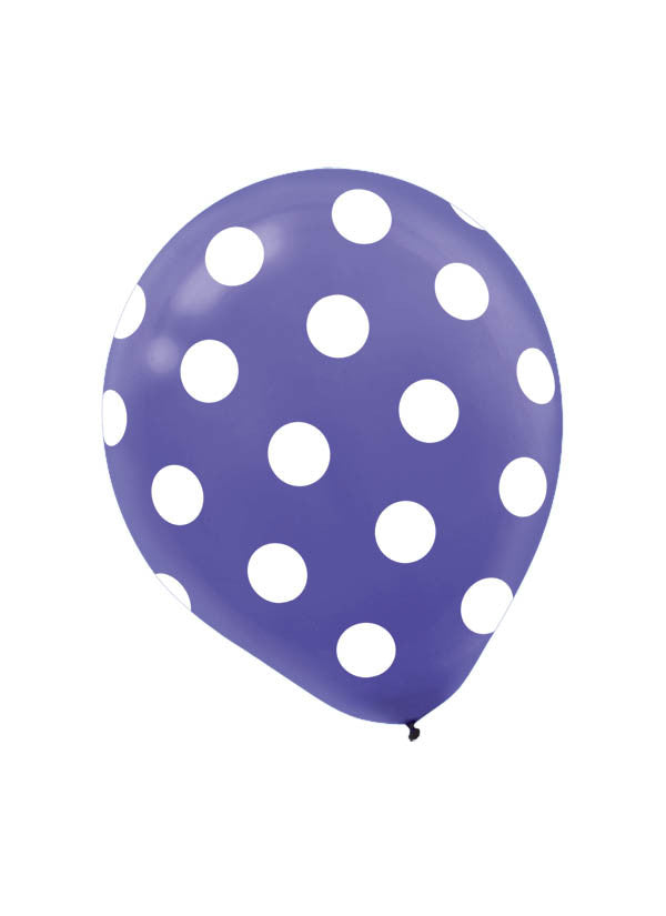 New Purple Polka Dot 6ct - BAGS LATEX - Party Supplies - America Likes To Party