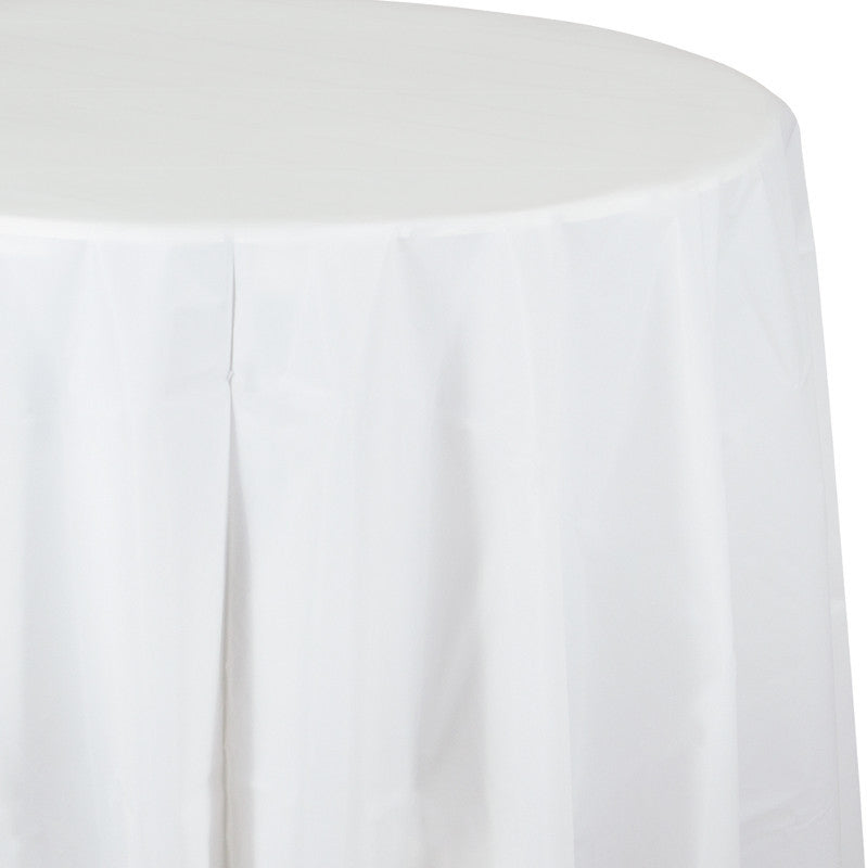 Frosty White Round Plastic Tablecover - WHITE .08 - Party Supplies - America Likes To Party