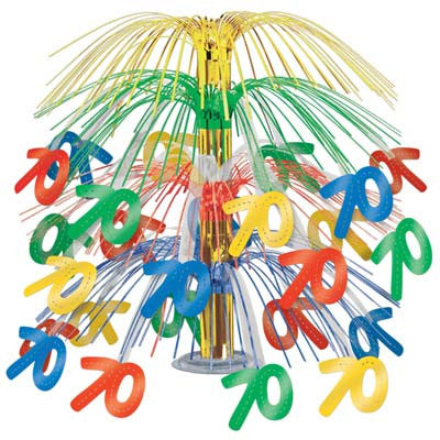 70th Birthday Cascade Centerpiece - CELEBRATION 30 40 50 60 - Party Supplies - America Likes To Party