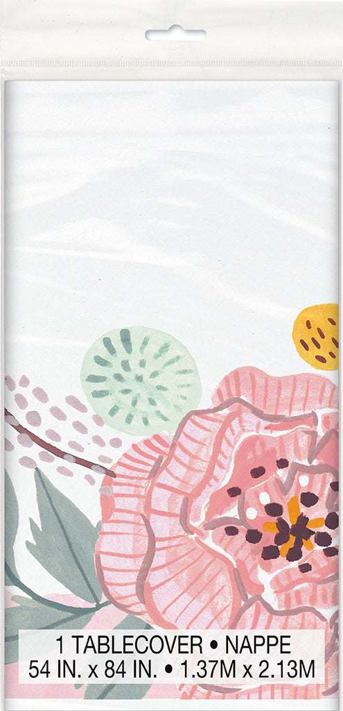 Painted Floral Tablecover - TABLEWARE WEDDING - Party Supplies - America Likes To Party
