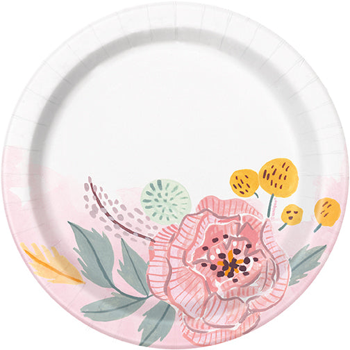 Painted Floral Dessert Plates 8ct - TABLEWARE WEDDING - Party Supplies - America Likes To Party