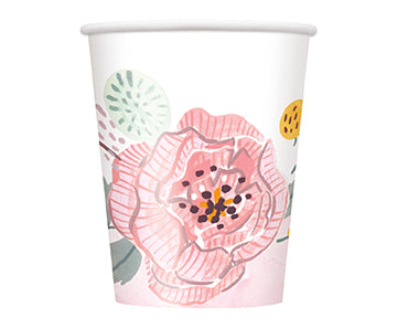 Painted Floral 9oz Paper Cups 8ct - TABLEWARE WEDDING - Party Supplies - America Likes To Party