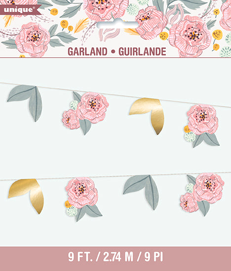 Painted Floral Banner - TABLEWARE WEDDING - Party Supplies - America Likes To Party