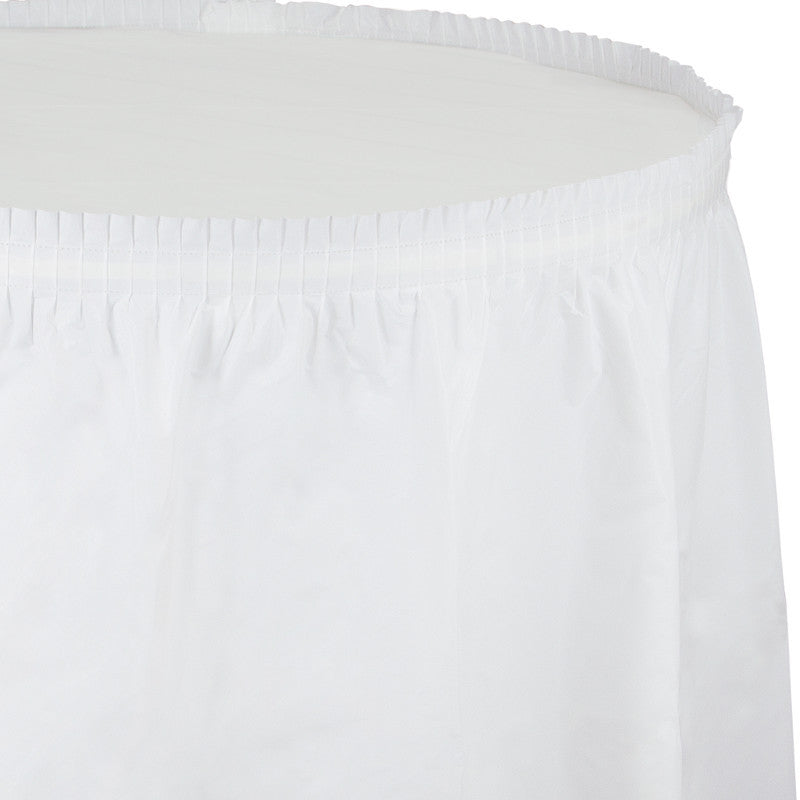 Frosty White Plastic Table Skirt - WHITE .08 - Party Supplies - America Likes To Party