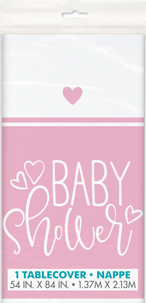 Pink Hearts Baby Shower Tablecover