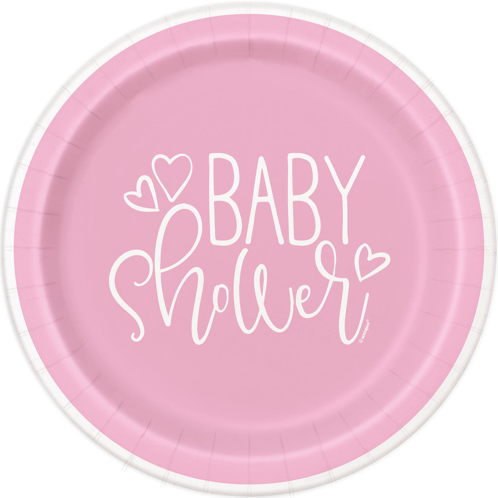 Pink Heart Baby Shower Lunch Plate