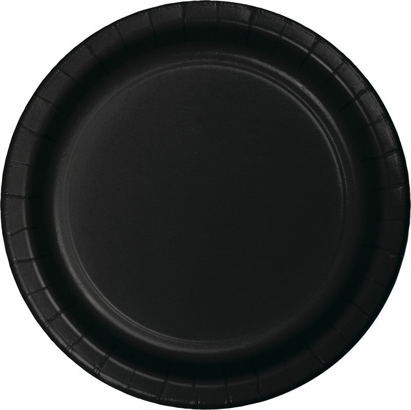 Jet Black Paper Lunch Plates 20ct - BLACK .10 - Party Supplies - America Likes To Party
