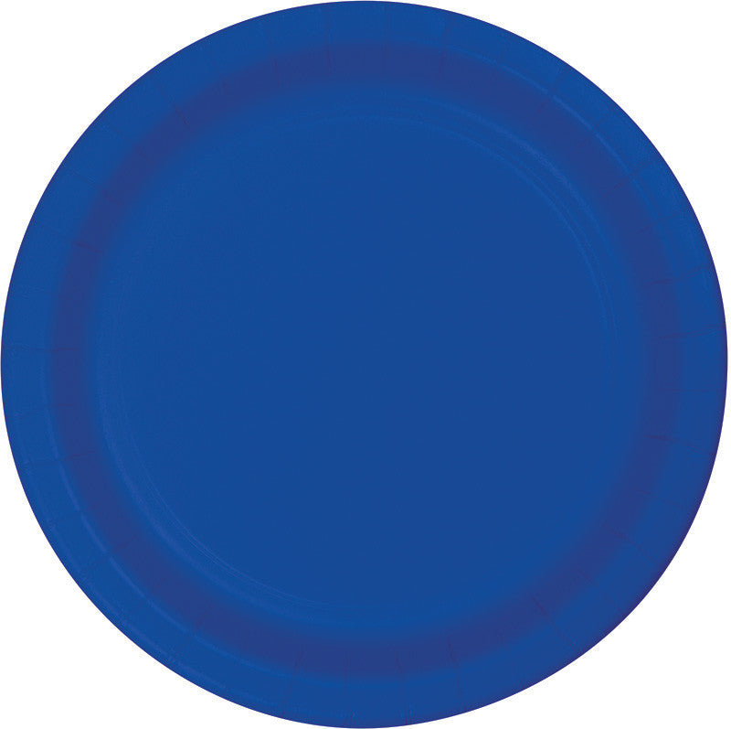 Royal Blue Plastic Dessert Plates 20ct - BLUE ROYAL .105 - Party Supplies - America Likes To Party
