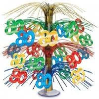 80th Birthday Cascade Centerpiece - CELEBRATION 30 40 50 60 - Party Supplies - America Likes To Party