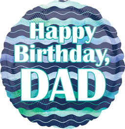 Happy Birthday Dad Color Waves Balloon